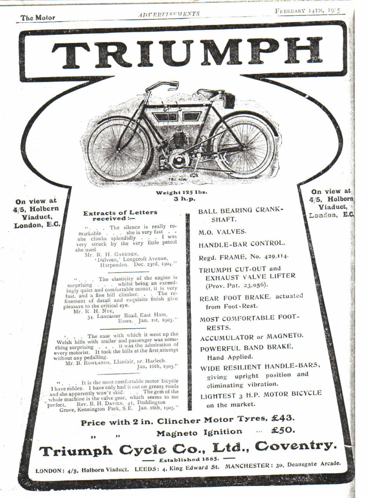 Triumph Advert 1905